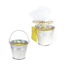 Mega Candles - Mini Metal Tin Bucket Citronella Candle - Yellow, Set of 6