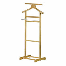 Tropical Hevea Wood Stainless Steel Clothes Valet Rack Wardrobe Stand Organiser