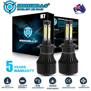 4-sides H7 120W 14400LM LED Headlight kit Driving High or Low Light Lamp Globes