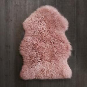 Sheepskin Rug 2x3 ft Real Sheep Fur Single Pelt Dyed Baby Pink Fur Leather Wool