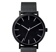 Casual Black Watch Men Women Quartz Leather Wrist Watch Minimalist White Hands