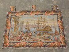 Vintage Tapiz Francés Escena Hermosa Puerto De Mar 130x84cm (A1065)