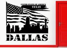 Wall Sticker Vinyl Decal Texas Dallas Lone Star State US Flag USa Decor (z2406)