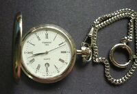 VINTAGE ESTATE TISSOT SAVONNETTE QUARTZ STAINLESS STEEL  POCKET WATCH & CHAIN
