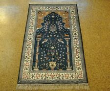 3x5 Silk Tabriz New Handmade Strong Fiber Slate Blue - Ivory Carpet