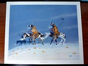 """RANCE HOOD """"Warriors Returning"""" Hand signed lithograph"""