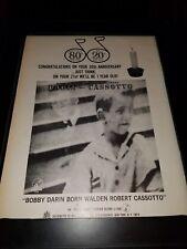 Bobby Darin Born Walden Robert Cassotto Rare Original Promo Poster Ad Framed!