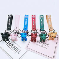 Cartoon 3D French Bulldog Keychain Charm Punk Trinket Car Key Ring Jewelry Gift
