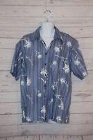 Ben Sherman Floral Hawaiian Camp Shirt Tropical Signature Pocket Cotton XL Blue