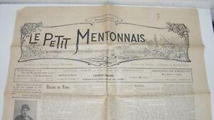 JOURNAL LE PETIT MENTONNAIS 6 JANV. 1907-GRAVURE DE LESSIEUX-ART NOUVEAU-MENTON