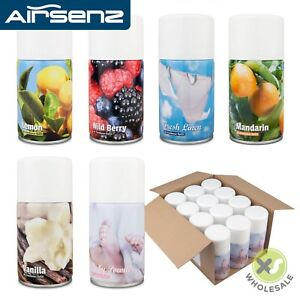 12 x AIR FRESHENER CANS AEROSOL REFILL CAN COMMERCIAL AUTOMATIC DISPENSER 270ML