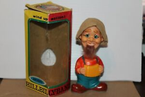 VERY NICE VINTAGE ALPS WIND UP HAPPY HOBO HILLBILLY with ACCORDION in BOX