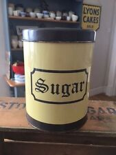 Vintage Regency Ware Yellow & Brown Kitchen Storage Tin / Canister – Sugar –