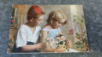 AK Kunstkarte Kinder Hänsel und Gretel Blumenstrauß Postkarte 11207