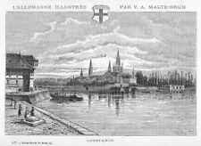 Konstanz, Ansicht, Original-Holzstich von Clerget 1888