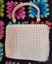 VTG 50's 60's Grandee Bead Purse White Handbag Frame & Clasp NO RESERVE