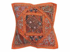 Orange Living Room Throw Pillow Cover - Eclectic Ethnic Decorative Cushion 16""