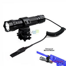 T6 Tactical Flashlight+Remote Switch+Picatinny Barrel Mount for Rifle
