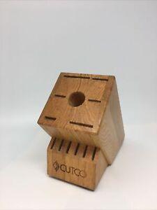CUTCO 'Homemaker' Wood 6 Slot Knife & Scissor Block - Made in USA Honey Oak