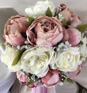 Dusky Pink Wedding Flowers, peonies, Bride/Bridesmaids/Buttonholes
