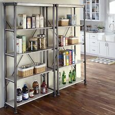 Vintage Bookcase Shelving 5 Tier Wood Metal Gray and Marble Bookshelf