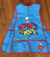 Vtg Peanuts Snoopy & Woodstock Kid's Art Smock School Craft Paint Painting Apron