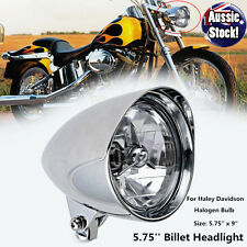 Chrome Bullet LED Headlight for Harley Davidsons Chopper Dyna Softail Bobber New