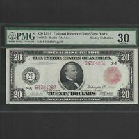 FR 953A $20 1914 FEDERAL RESERVE NOTE NEW YORK PMG 30 RED SEAL SHIPS FREE