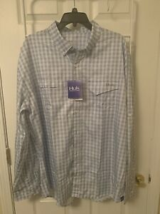 Huk Performance Fishing Mens Tide Point Woven Plaid Long Sleeve Size XL NWT