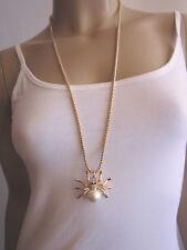 Damen Hals Kette Modekette lang Modeschmuck gold Strass Spinne Tarantel Perle