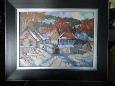 "Armand Tatossian Quebec ""RETOUR AU VILLAGE"" Oil 12"" by 16"""