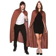Unisex Halloween Hooded Fancy Dress Cape Brown One Size 132cm Long New