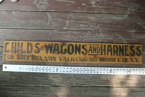 ANTIQUE CHILDS WAGON & HARNESS WOODEN SIGN Broom Center NY MUSTARD BLACK PAINT