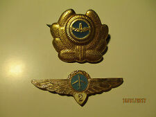USSR RUSSIA CIVIL AIRLINES COCKADE + 2 CLASS PILOT WINGS BADGE ,O