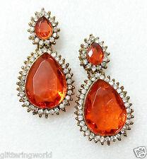 Glittering World Designer ORANGE Garnet/Sapphire Stone Earrings