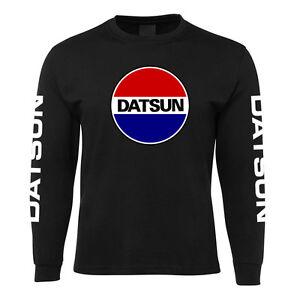 New Black Datsun Classic Long Sleeve T Shirt 100% Cotton Size S -5XL