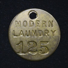 25mm Modern Laundry 125 Keychain Fob Vintage brass plaque tag