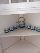 LOT /7 OMC JAPAN BLUE PATTERN TEAPOT WITH SIX TEA CUPS EXCELLENT CONDITION!