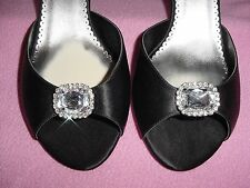 Black Fabric High-Heel Open-Toe Sandal Big Gem & Rhinestones by Caparros 11M