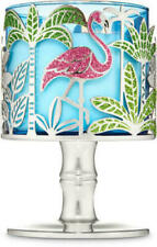 Bath Body Works Tropical Flamingo Palms Pedestal 3 Wick 14.5oz Candle Holder New