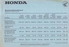 Lista de precio original de Reino Unido Honda Civic Coupe N600 Z 1973 de octubre