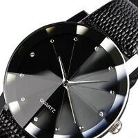 Black Luxury Mens Military Leather Band Round Dial Quartz Wrist Watch Sport