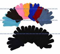 Wholesale Lot 12 Pairs Boys Girls Kids Knit Magic Solid Plain Gloves New York
