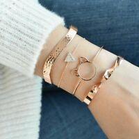 4pcs/Set Women Gold Cat Ear Triangle Crystal Cuff Chain Bangle Bracelets Jewelry