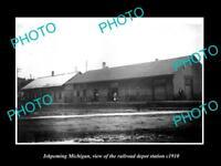 OLD LARGE HISTORIC PHOTO OF ISHPEMING MICHIGAN, THE RAILROAD DEPOT STATION c1910