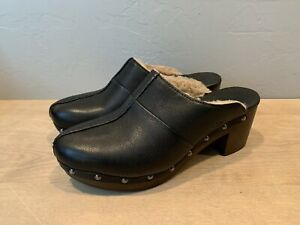 Ugg Kassi Black Leather Shearling Lined Clogs Women's 8 Excellent Condition