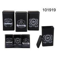 SET OF 3 SUGAR TEA COFFEE TIN CANISTER RETRO VINTAGE GIFT LID STORAGE BLACK NEW