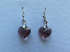 SMALL HEART DROP EARRINGS FACETED PLUM PURPLE GLASS SILVER PLATED FITTINGS