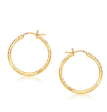Small 20mm Diamond Cut Hoop Earrings Real 14K Yellow Gold FREE SHIPPING