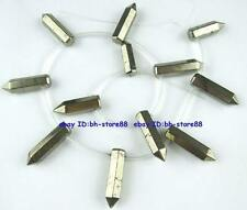 Natural 8x14-8x28mm Rocket Pyrite Graduated Genstone Beads 15''